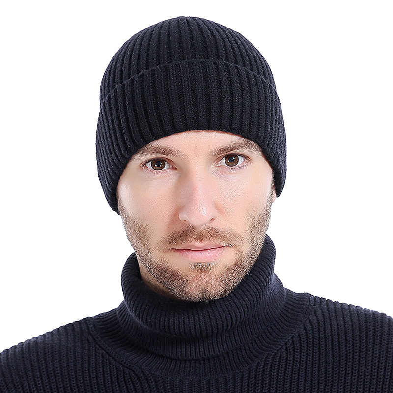 dcf4a15b1f788 ... Wool Beanies Knit Men s Winter Hat Caps Skullies Bonnet Winter Hats For  Men Women Beanie Warm ...
