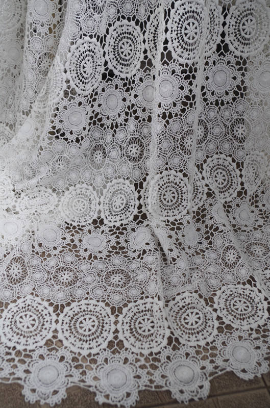 Tissu en dentelle de coton blanc cassé 1 yard avec motif floral rétro évidé, tissu en dentelle de coton au crochet