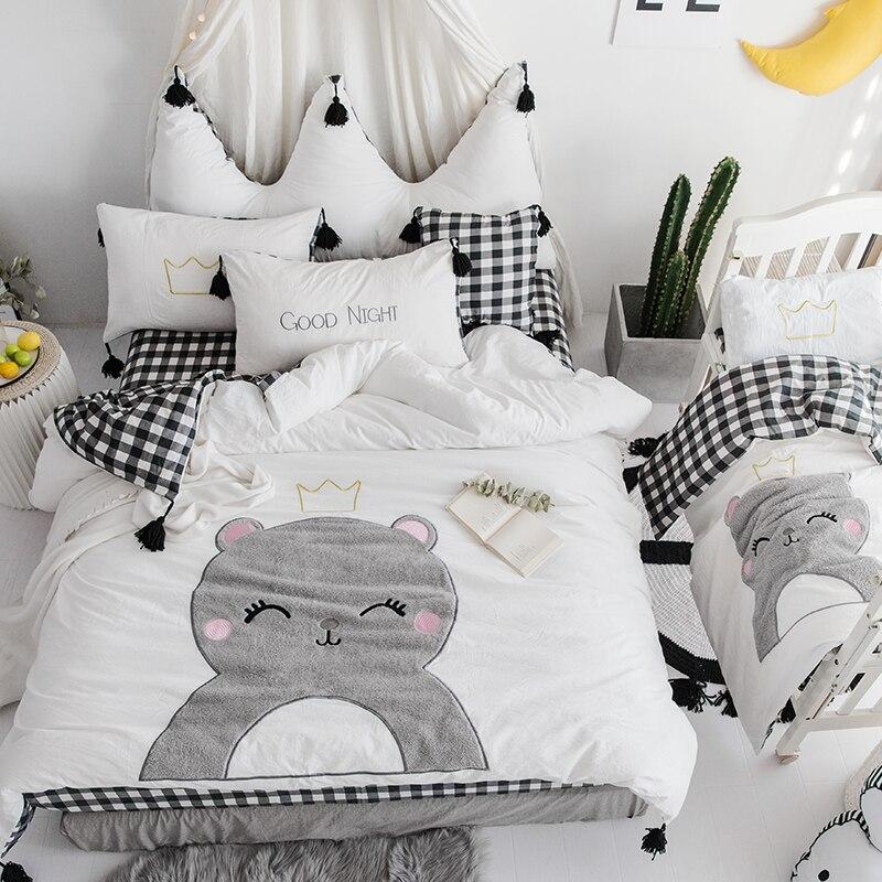 white blue cartoon cute bedding sets 100 cotton queen king size girls kids bedding set soft bed fit sheet duvet cover set