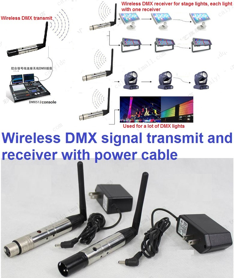 1 Pair Of 2.4G ISM DMX512 Wireless Female Male 3 Pins XLR Transmit Receiver Device For LED Moving Head Lights LED Par Cans