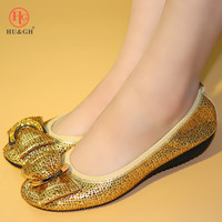2019 New Italian Fashion Women Flats Comfortable PU Leather Gold Color Shoes Woman Size 38 45 Woman Loafers African Women