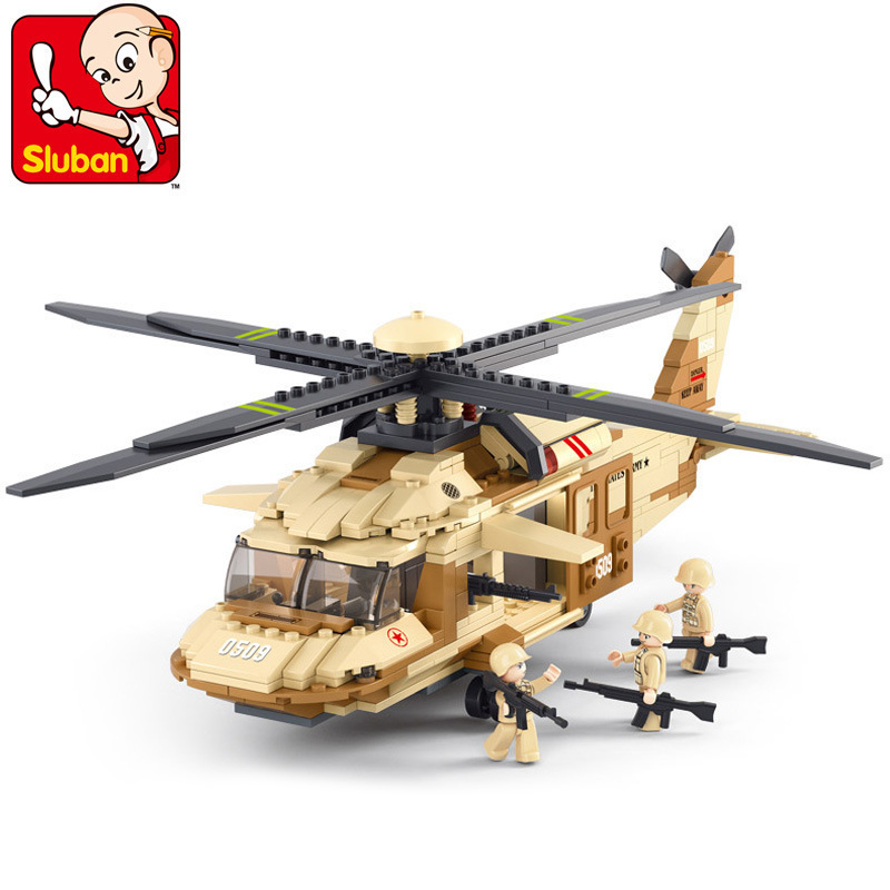 Sluban model building kits compatible with lego city plane 503 3D blocks Educational model & building toys hobbies for children