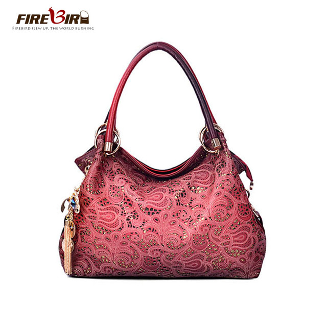 Top Brand female bag with ornaments delicate bag embossed PU leather red / gray / blue /Pink bag for women L222
