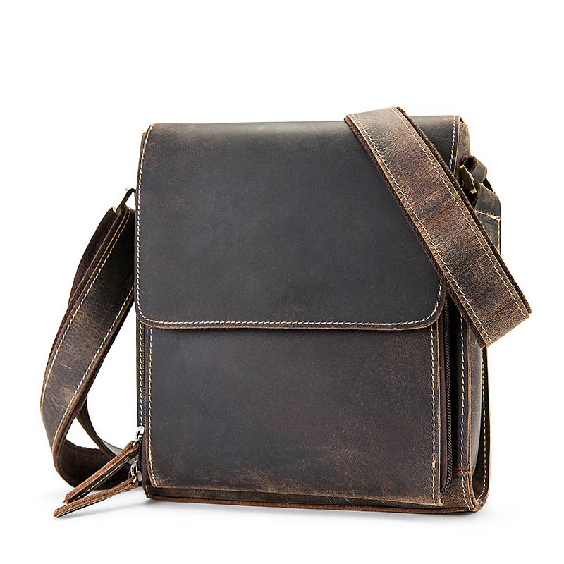 Men's Shoulder Bag Genuine Leather Male Retro Messenger Crossbody Bag Business Travel Vintage Flap Bag Casual Man Purse Bolsos