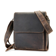 Mens Shoulder Bag Genuine Leather Male Retro Messenger Crossbody Business Travel Vintage Flap Casual Man Purse Bolsos
