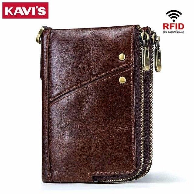 Кавис Rfid 100% натуральная Crazy Horse кожаный бумажник Для мужчин Малый Walet Portomonee мужской Cuzdan короткие портмоне портфель держатель для карт