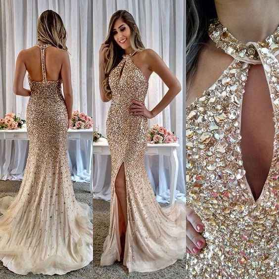 Sexy New Beading Prom Dresses 2019 Halter Sleeveless Floor Length Crystal Tulle Slit Evening Dresses Vestido de festa