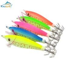 5PCS 10cm 3D eyes wood shrimp 5 colors luminous squid hook artificial jigs octopus fishing lures
