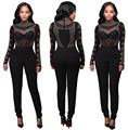 Womens Sexy Black Long Sleeve Rhinestone Mesh Bodycon Jumpsuit Ladies Clubwear Long Pants Body Suits