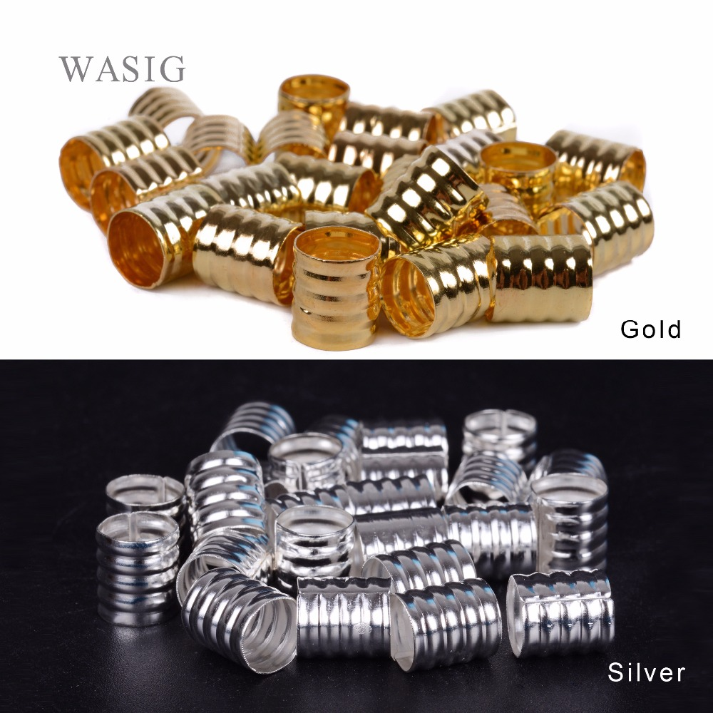 100pcs 10x8mm silver/golden Dreadlock Beads Spring Shape Adjustable Hair Braid Cuff Clip Aluminium Alloy Tube Lock Styling Tool