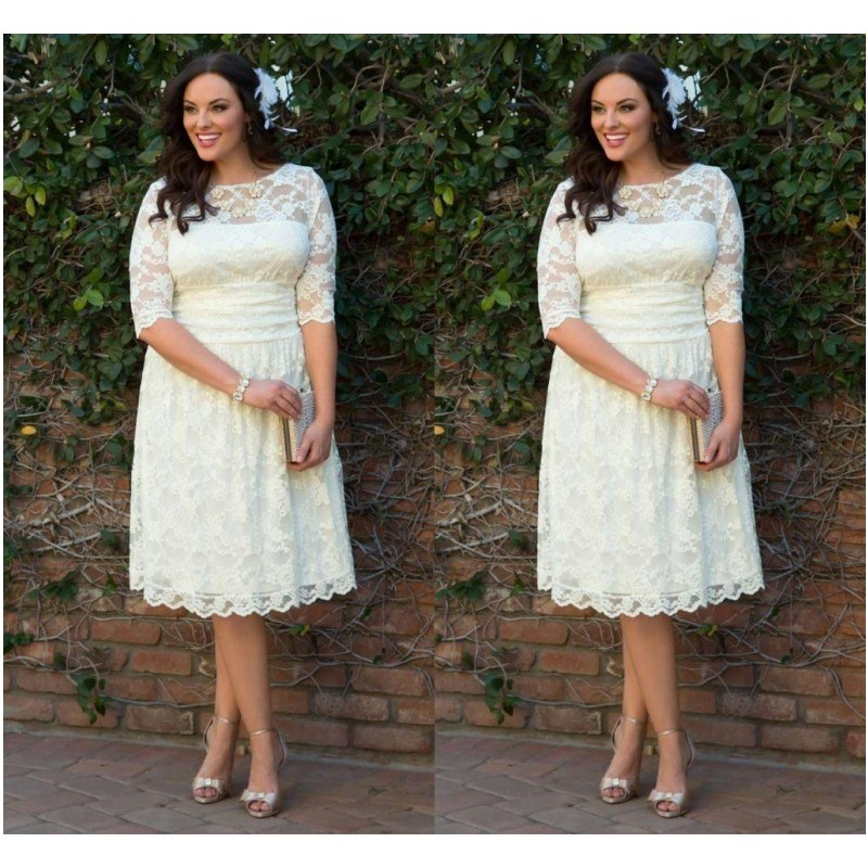 Plus Size Lace Wedding Dresses 2016 Illusion 3/4 Sleeve Summer Short ...