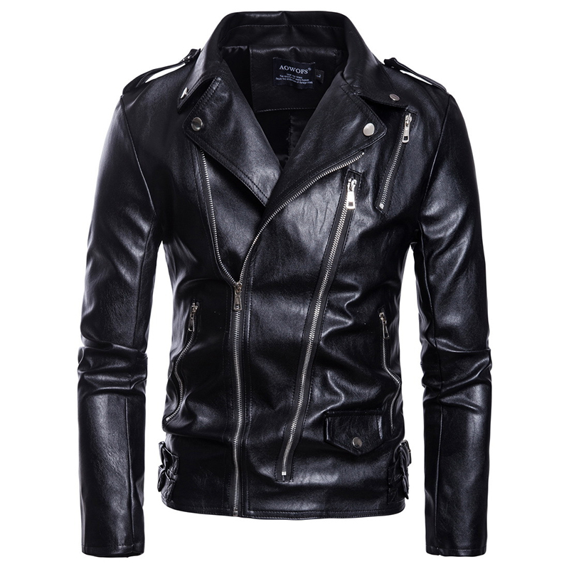 Asian Size S-5XL Men Casual Leather Clothes More Zippers Belt Decorate Autumn And Winter Coat Zipper Wristband Leather Jacket