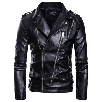 Asian size S-5XL Men casual leather clothes more zippers belt decorate autumn and winter coat Zipper wristband Leather jacket fashionable men s briefcase with zippers and black colour design