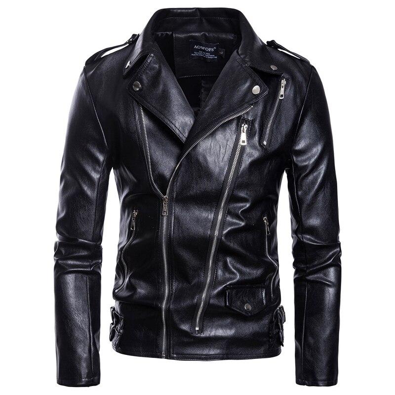 Talla asiática S-5XL hombres ropa de cuero casual más cremalleras cinturón decorar otoño e invierno abrigo cremallera pulsera chaqueta de cuero
