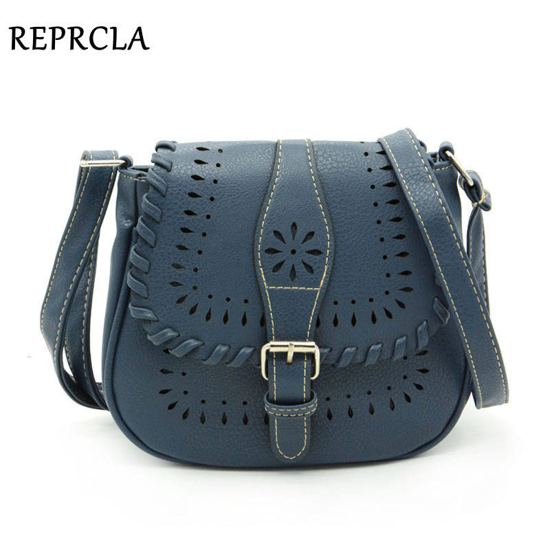 New Hollow Out Design Women Bag Vintage Women Messenger Bags PU Leather Designer Handbag Shoulder Bag 9L02