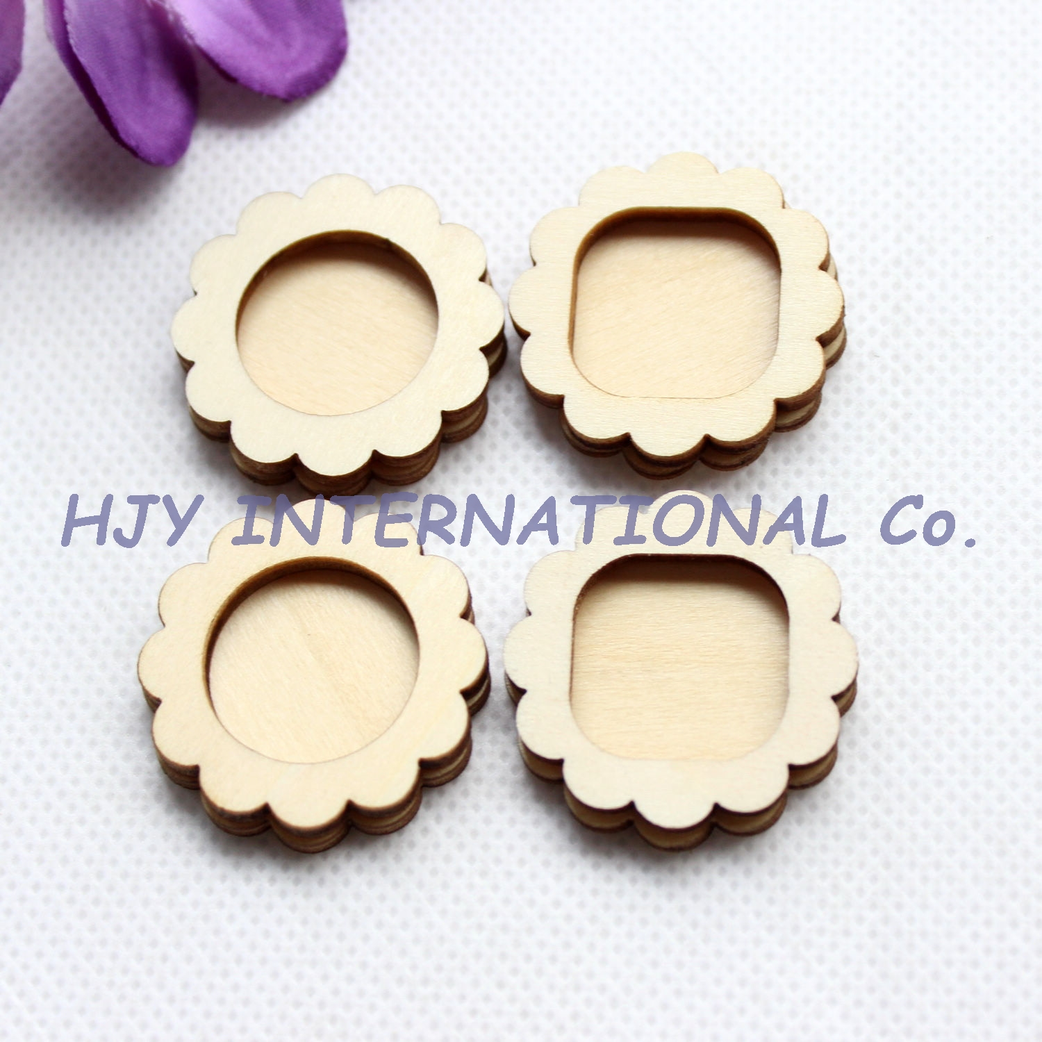 200pcs 30mm natural blank wooden flower frame unfinished wood charms laser cut ct1405