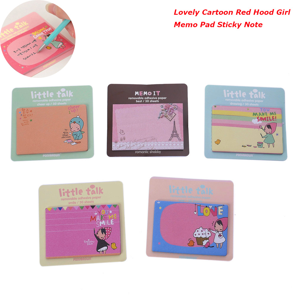 Free Shipping Kawaii Cartoon Red Hood Girl Memo Notepad Note Book&memo Pad Sticky Notes Memo Set Gift Stationery Wholesale