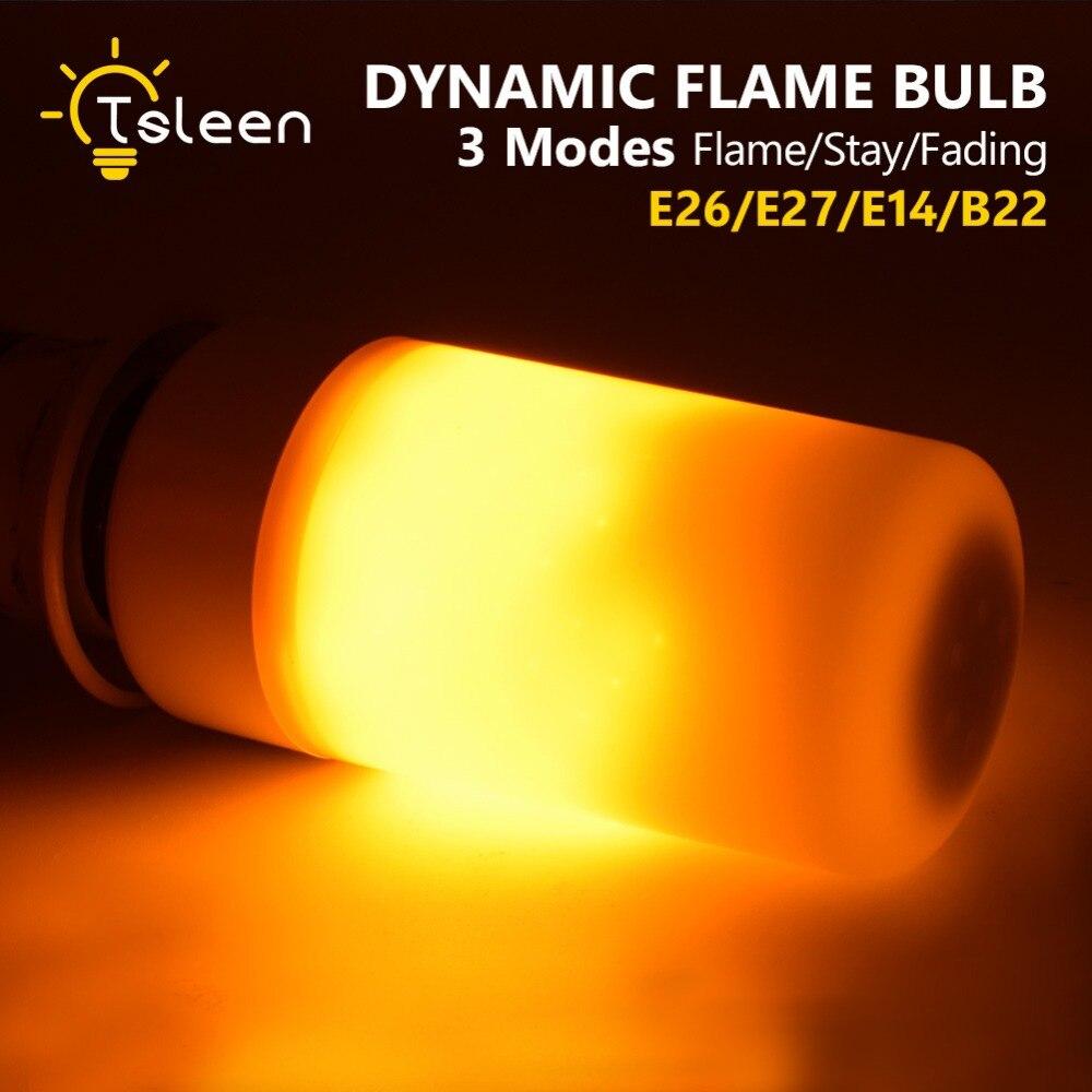 TSLEEN E27 E26 3-Modes LED Flame Effect Fire Light Bulbs 5W AC 85-265V Flickering Emulation Decorative Lamp