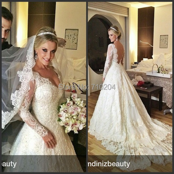Customized long sleeve lace appliques beading backless for Wedding dress beading patterns