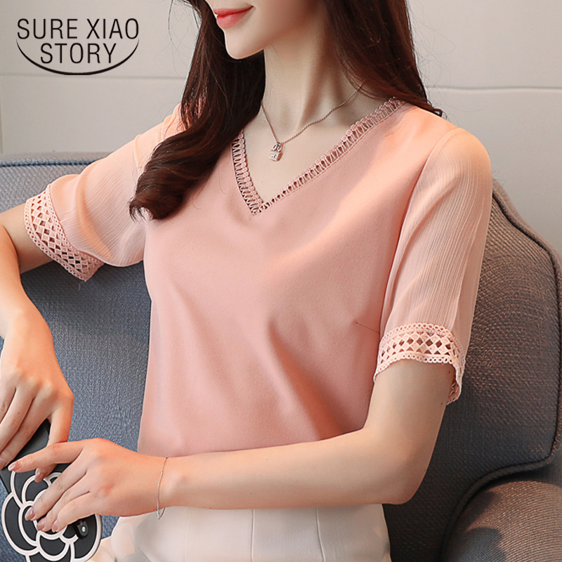 2018 new short sleeved   blouses   fashion summer solid lace chiffon   blouse     shirts   women tops causal lady sweet clothing 0453 30