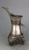 TNUKK Exquisite Interesting Chinese White Copper Archaistic Auspicious Patterns Ornament Wine Cup