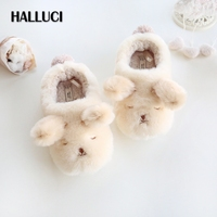 HALLUCI Winter Kawaii Dog Home Slippers Shoes Woman Thicken Keep Warm Indoor Casual Cartoon Animal Cotton