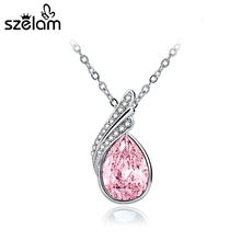 Szelam 2016 Fashion Water Drop Rhinestone Jewelry Sets Silver Plated Necklaces Earrings Crystal Jewelry Set For Women SET150037