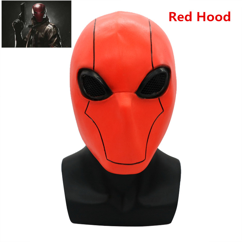 BOOCRE Anime Game Injustice League Batman Jason Todd Cosplay Props Red Hood Full Head Latex Mask Halloween Party Cosplay Props
