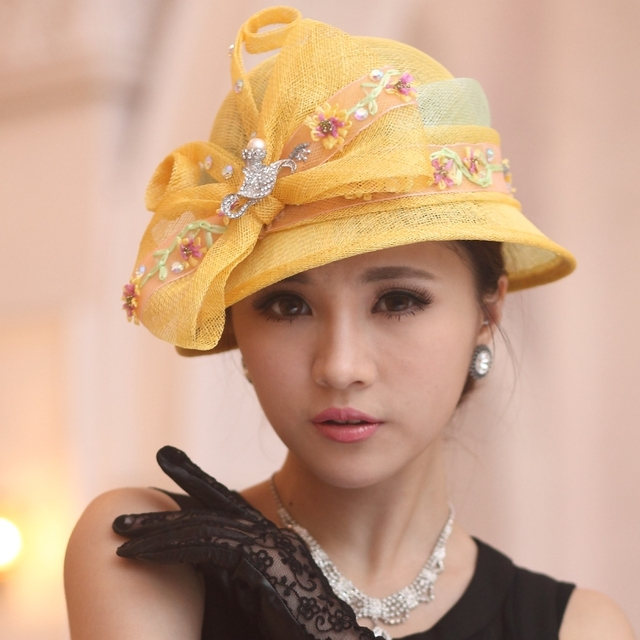 Free Shipping Women Dress Sinamay Derby Church Wedding Cocktail Evening Party Vintage Sun Cap French Style Fedora Visors Berets