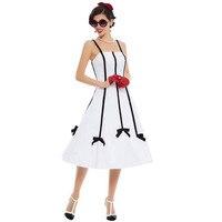 Sisjuly 2017 Women Summer White Dress Girls A Line Sleeveless Spaghetti Strapless Dresses Knee Length Vintage