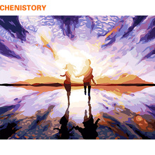 CHENISTORY Purple Romantic DIY Painting By Numbers Modern Abstract Wall Art Picture Acrylic Paint On Canvas For Wedding Decor