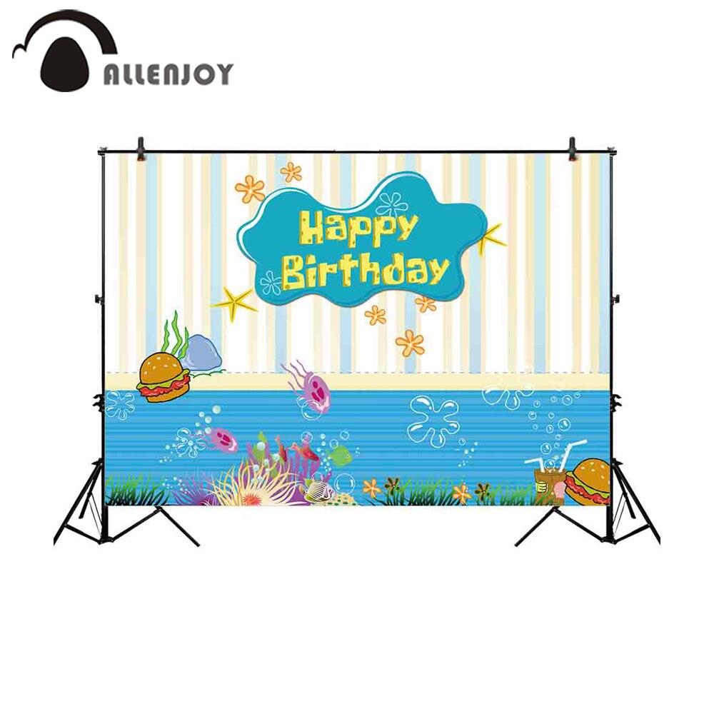Allenjoy 背景壁紙縦縞漫画バブルフレーム海底バーガークラゲかわいい