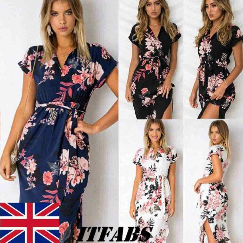 UK Women Sexy Short Sleeve Wrap Boho Floral Maxi Dress Ladies Summer Sundress Elegant Dresses Vestido Holiday Robe Femme in Dresses from Women 39 s Clothing