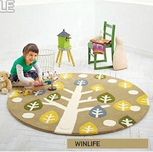 WINLIFE Tree Pattern Carpet Cartoon Kids Rugs Acrylic Round Carpet Kids Room Floor Mats