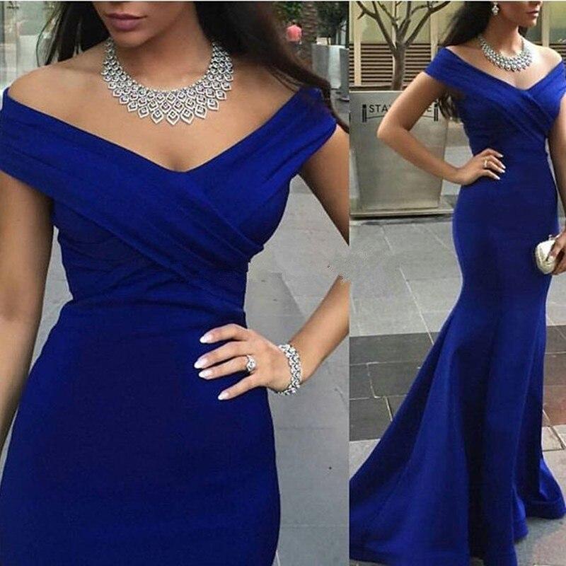 Roy bleu hors de l'épaule Court Train longueur de plancher sirène Satin robes de soirée longues sirène robes de soirée