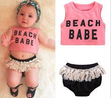 European and American fashion sleeveless letter print cotton vest+tassel shorts short pants summer suit set for baby girls letter and heart print sleeveless top and shorts pj set