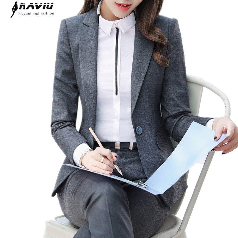 2018 Fashion business pants suits set temperament formal slim blazer and Trousers office Interview ladies plus