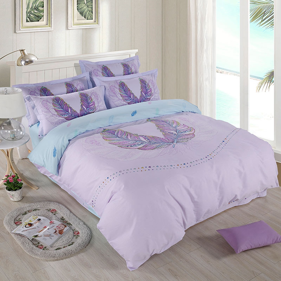 Light purple bed sets - Light Purple Duvet Cover Set Feather Duvet Cover Bed Sheet Bedding Pillowcase Queen Twin Full Size Bed Linens Adults Bedding Set