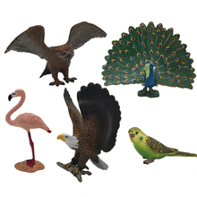 Animal Model Mini Animal Toy Parrot Flamingo Owl Peacock Decoration Simulation Toy Collection Learning Model Gift For Kids #H