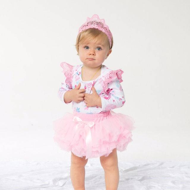 ee6c27d2283 YK Loving Birthday Party clothes New Baby Girl Clothing Pink Cartoon Long  Sleeve Baby Rompers Tutu skirt headband 3Pcs Set Gift