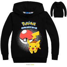 2019 New Spring t shirt Cotton Cartoon POKEMON GO Pikachu Kids Hoodie boys tops girls clothes long sleeve Sweater 3-14Y