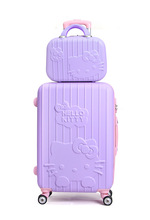 LUGGAGE 142024 ABS fashion KT cartoon cat picture SET super mute caster boarding trolley EC FREE