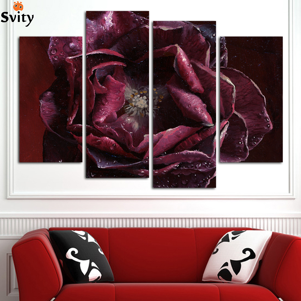 4 Pcs/Set Combined Flower oil Paintings Purple Rose Modern Wall Painting Canvas Wall Art Picture Unframed Canvas Painting,