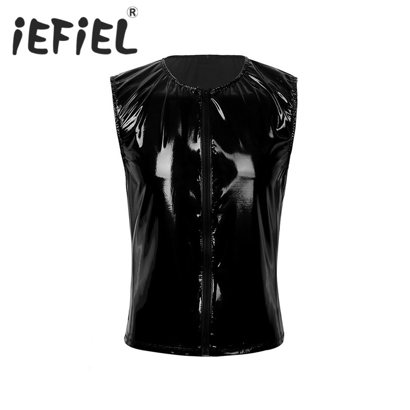 iEFiEL Fashion Male Mens Wet Look Patent Leather Front Zipper Slim Tank Top Clubwear Stage Performance Costume Cosplay Crop Vest
