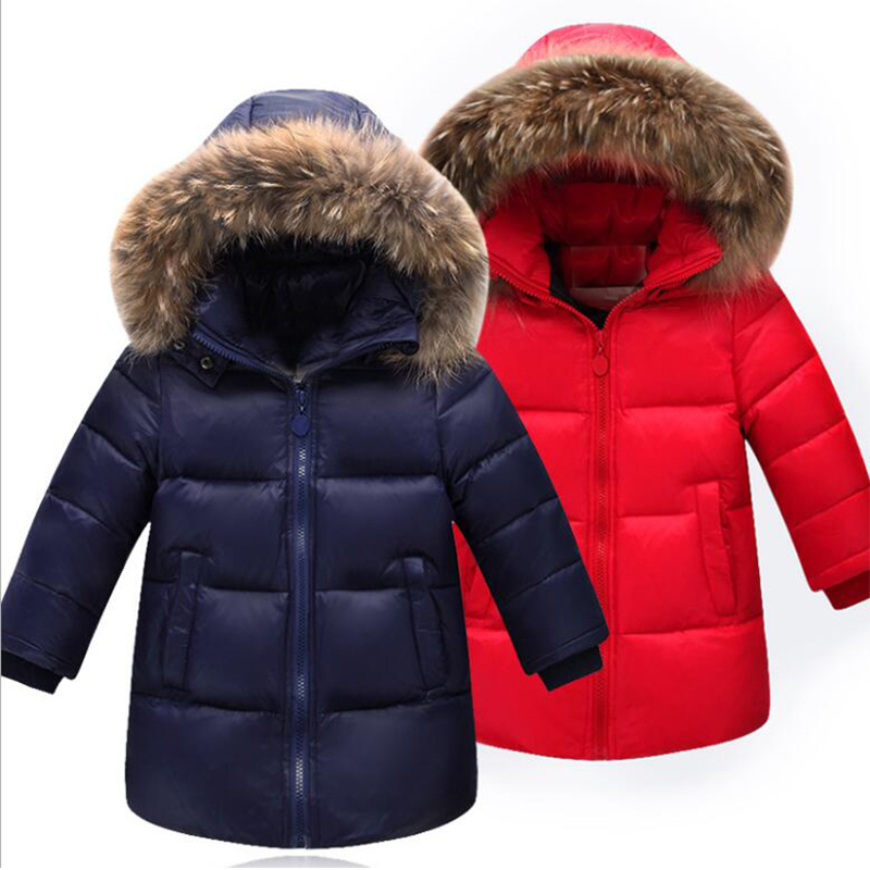 Real Raccoon Fur Baby Boys Outerwear Girls 90% Down Jacket Children Winter Coat Hooded Thickening Kids Padded Jackets new winter girls boys hooded cotton jacket kids thick warm coat rex rabbit hair super large raccoon fur collar jacket 17n1120