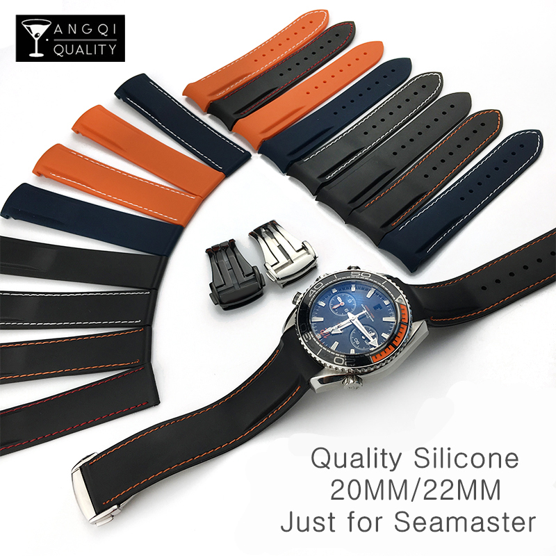Curved End 20mm 22mm Rubber Silicone Watch Bands For Omega Seamaster Ocean 232 007 Buckle