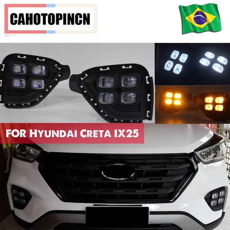 DRL For Hyundai Creta IX25 2017 2018 LED Daytime Running Light South American version fog DRL