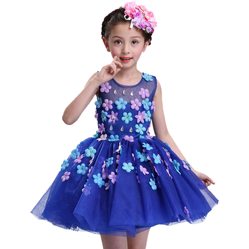 New summer baby girl Clothes print flower girl dress for wedding girls party dress with bow dress 4