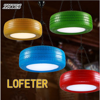 Loft Industrial Colored Tyre Pendant Light Creative Restaurant Coffee Bar Vintage Store Pendant Light