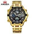 Analógico Digital Relojes Hombres Led de Oro de Acero Lleno de lujo Hombre Reloj de Los Hombres Militar Reloj de pulsera de Cuarzo Reloj Deportivo Relogio masculino